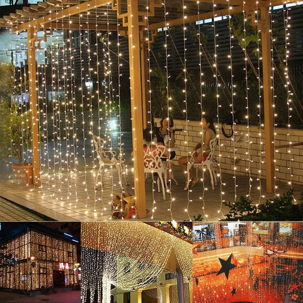 String Lights On Wall: Led Curtain Light 304led 9.8ft*9.8ft Christmas Curtain