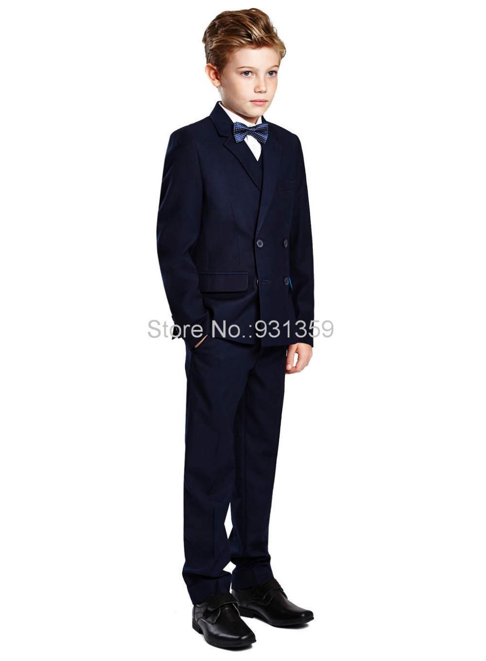 Boy's Formal Wear Double-Breasted Navy Blue Peak Lapel Formal ...
