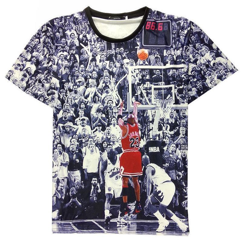 Men 39 s basketball jordan t shirt 23 short sleeve 3d printed for Cheap t shirt printing chicago