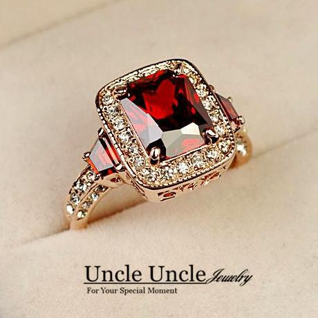 Hotselling!!! 18K Rose Gold Plated Perfect Cut Red Ruby Rectangle Austrian Crystal Luxury Lady Finger Ring Wholesale 18krgp