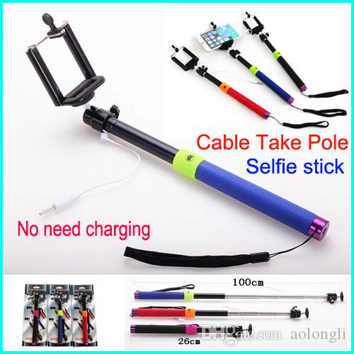 2017 newest audio cable wired selfie stick extendable handheld monopod plug and play cable take. Black Bedroom Furniture Sets. Home Design Ideas