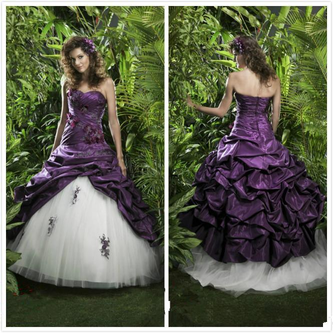 2016 Purple And White Wedding Dresses Taffeta Lace Applique Beaded Bridal Gowns Gothic Plus Size
