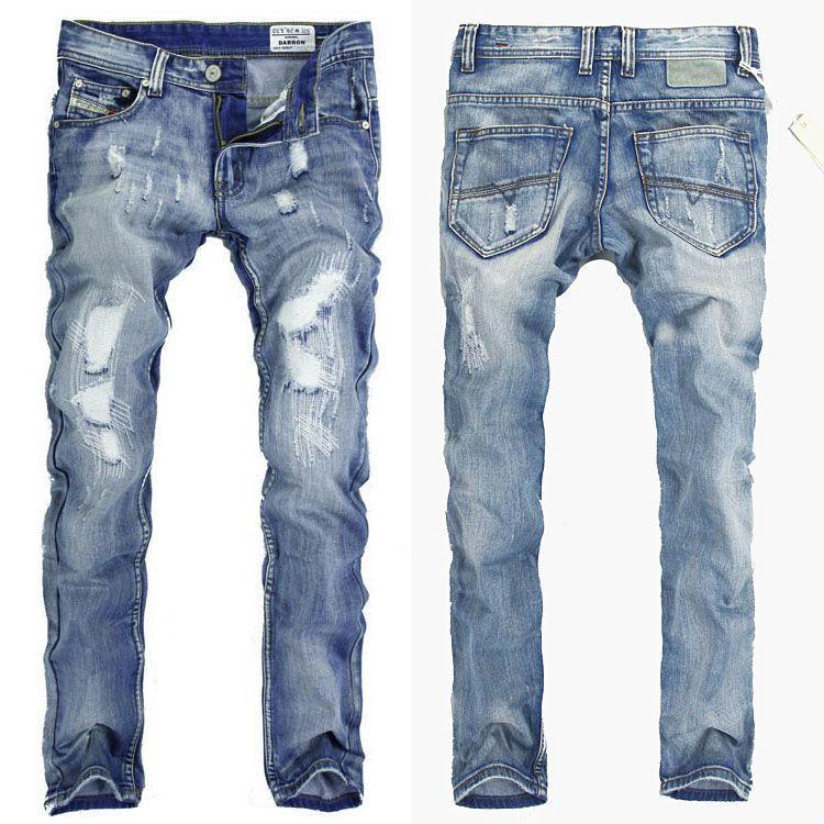 2017 2015 Jeans Men Famous Designer Brand Patch Hole Denim Jeans ...