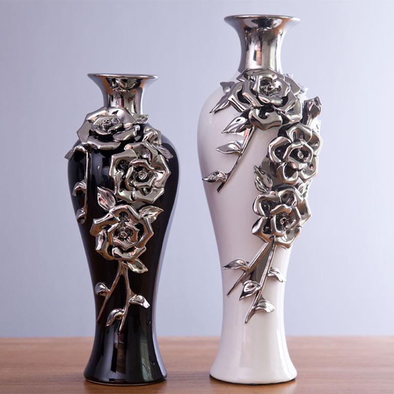 Ceramic Vase Modern And Stylish Home Furnishings Decoration Creative Crafts Silver Plated Rose Vase Flower Vase Black And White