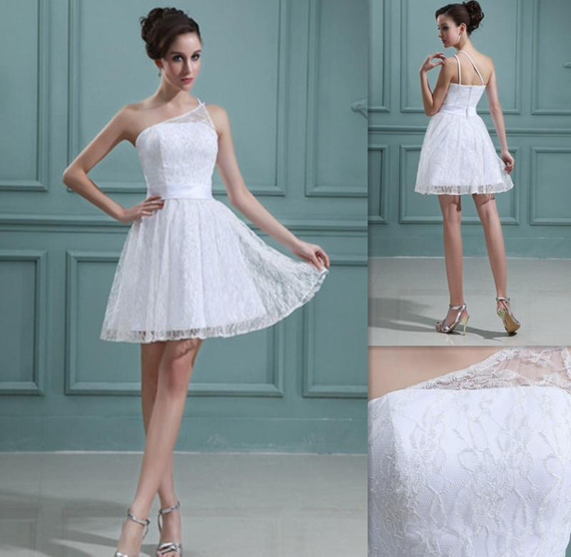 2015 short beach wedding dresses white lace one shoulder a for Cheap wedding dresses in az