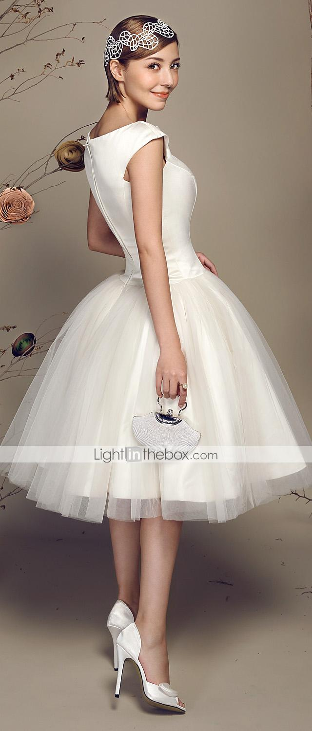 Cheap 2015 Knee Length Short Ball Gowns Wedding Dresses Bateau Capped With Short Sleeves Corset