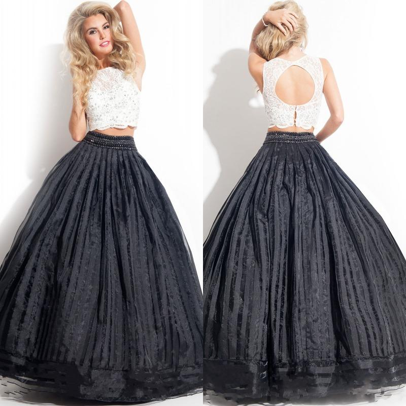 Fashion Two Piece Black And White Ball Gown Prom Dresses Sexy Crew ...