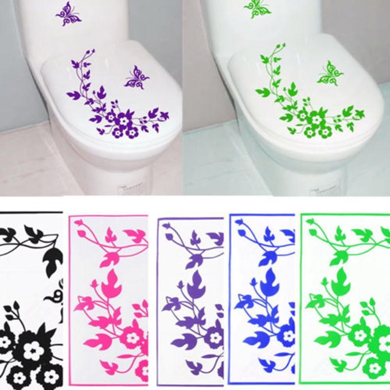 Butterfly Flower Bathroom Wall Stickers Home Deocr Home Decoration Wall  Decals For Toilet Decal Sticker Decor Family Wallpaper FG07060*10 Wall  Stickers ... Part 94
