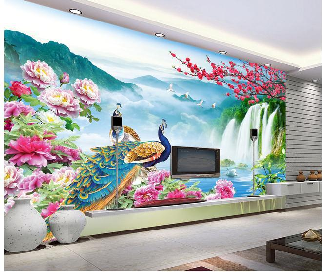 Wallpaper mural wallpaper peacock landscape 3d wallpaper for Ash wallpaper mural