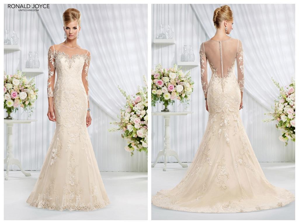 Light Gold Mermaid Wedding Dresses New 2015 Sheer Scoop