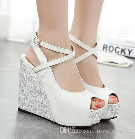 2015 2016 White Blue Wedding Shoes High Heels Platform Wedge Shoes