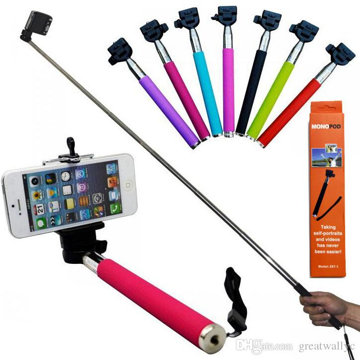 z07 1 mini selfie stick monopod bluetooth remote shutter phone holder clip for galaxy s3 s4. Black Bedroom Furniture Sets. Home Design Ideas