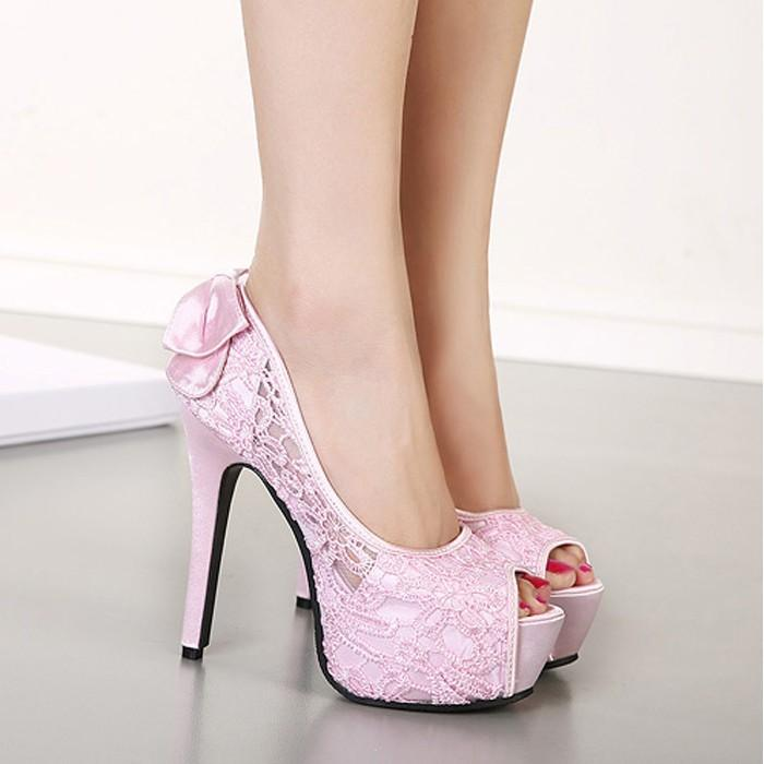2015 Sweet Ladys Pink Lace High Heels Peep Toe Bow Solid Pumps ...