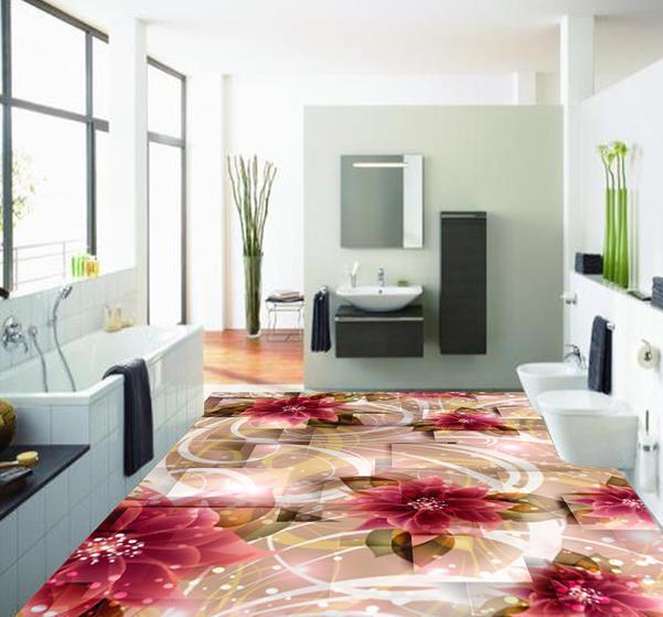 Custom photo floor wallpaper 3d stereoscopic flowers 3d for 3d wallpaper for home floor