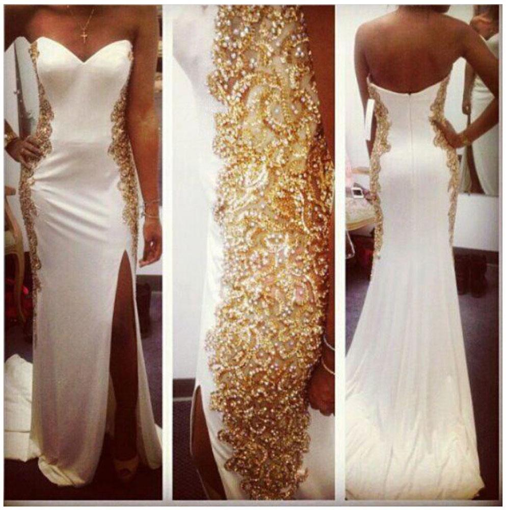 Bling Lace Mermaid Prom Dresses Side Slit Beads White Chiffon ...