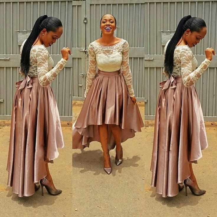 Long Sleeves High Low Prom Dresses 2017 Gorgeous Lace Satin White Brown Plus Size Aso Ebi Style