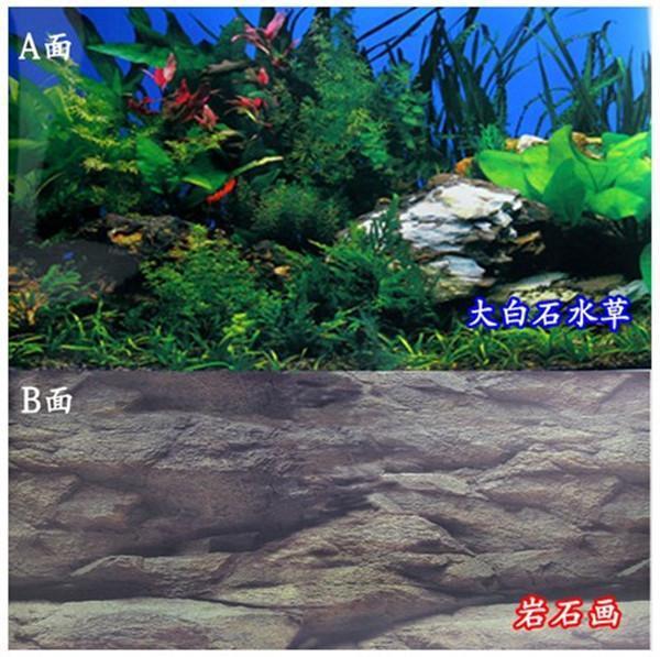 2017 48cm high double sided aquarium rock landscape poster for Landscaping rocks for aquarium