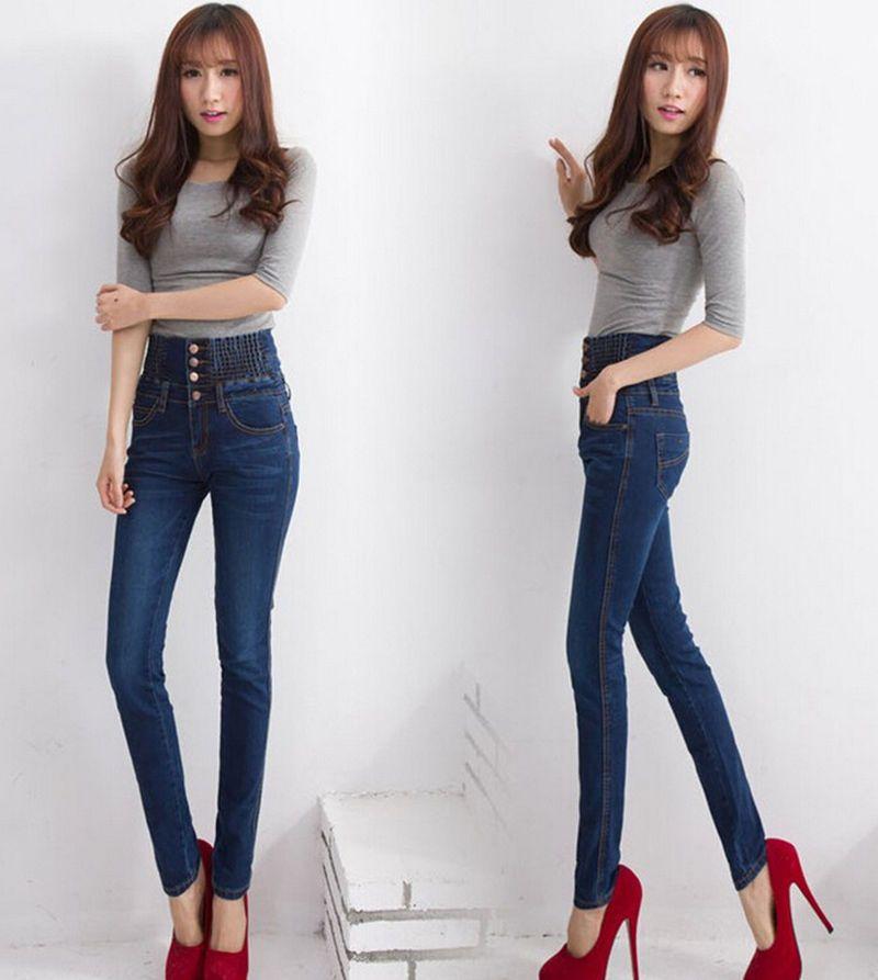2017 28 34 Size Fashion New Women Jeans Elastic Waist High Waist ...