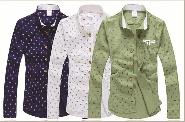 Anchor Contrast Color Printed Shirt Japanese Small Men Cotton ...