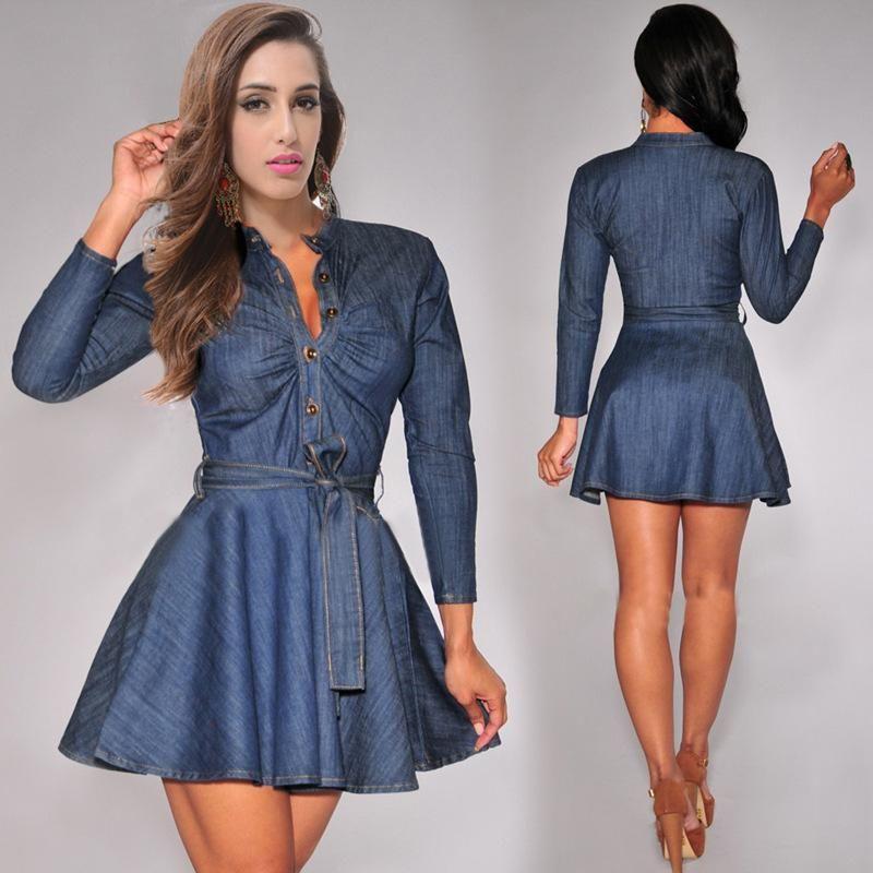 Women' Casual Short Mini Dress Denim Jean Belted Dress Long Sleeve ...
