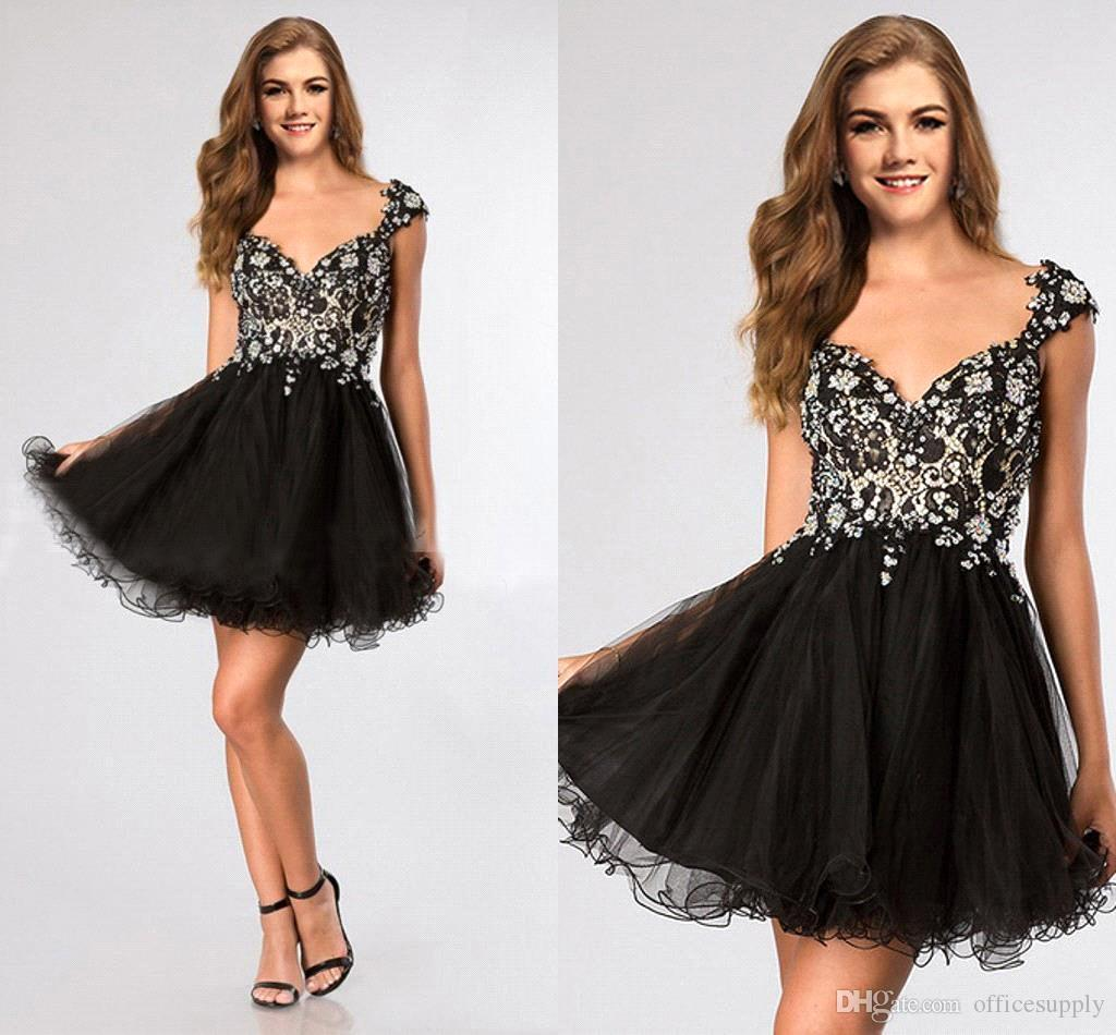 Little Black Dresses 2015 Homecoming dresses V Neck Cap Sleeves Rhinestone Organza Backless Sexy Cocktail Club BO8733