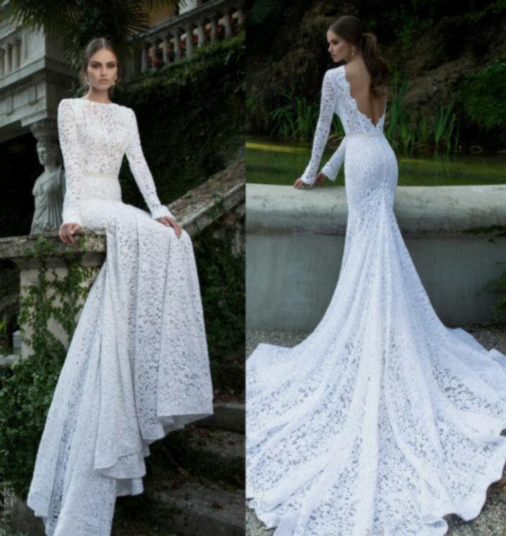Berta Bridal 2016 Long Sleeves Wedding Dresses Mermaid Backless ...