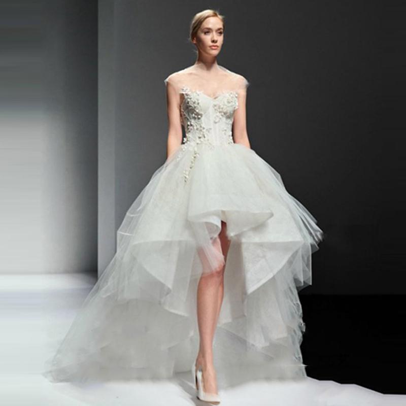 Hi lo wedding dresses 2016 summer beach sweetheart organza for Hi lo wedding dress