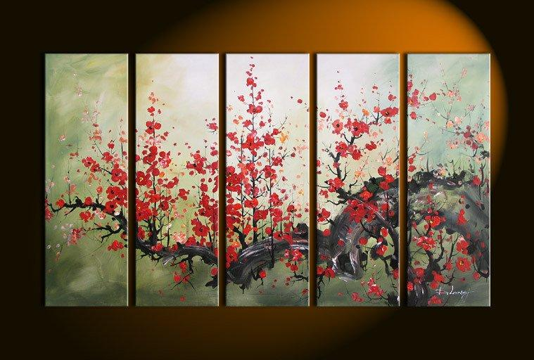 Wall Art Paint Bright Red Flower Decoration Abstract Landscape Framed