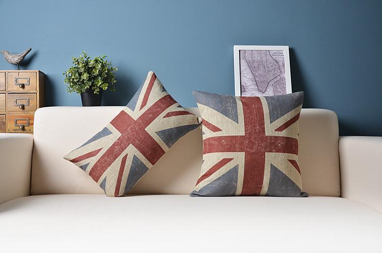Vintage British Flag Pillow Cushion Covers Sofa Chair Cushions