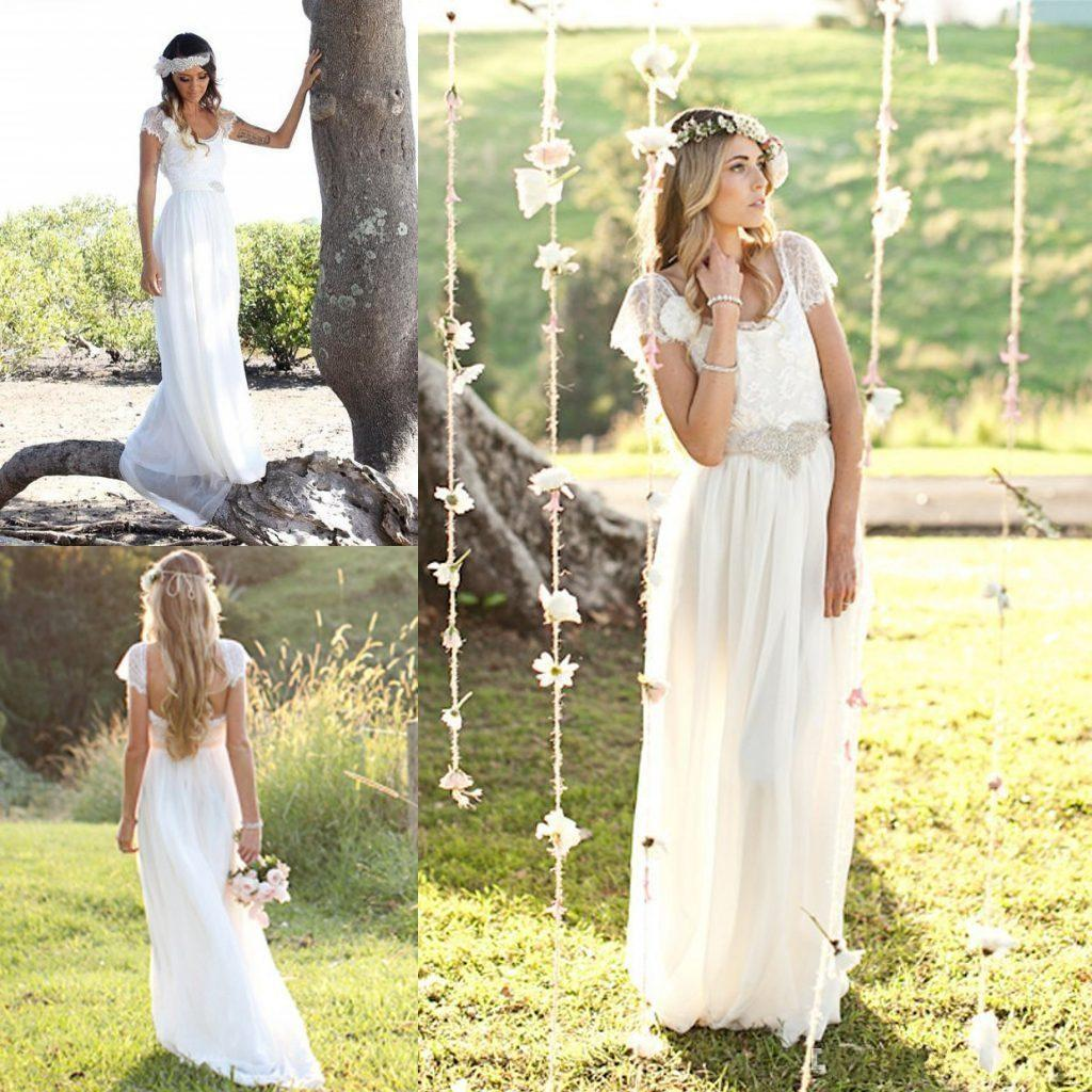Discount Modest Bohemian Wedding Dresses 2016 Lace Cap