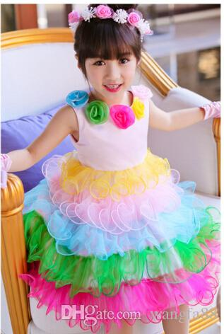 2015 New First Class Floral Collar Ruffles Ball Gown Rainbow Color ...