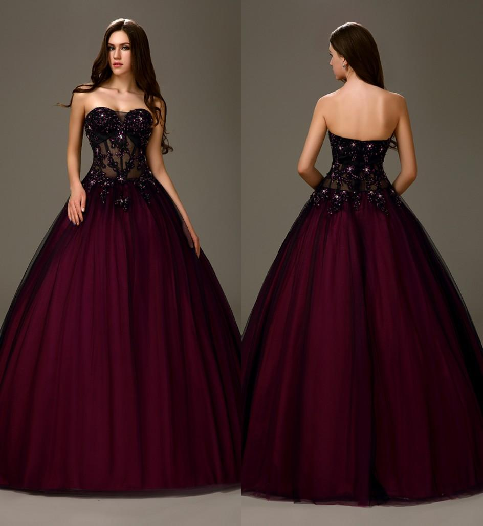 Sexy Black Purple Two Tones Long Ball Gown A Line Princess ...