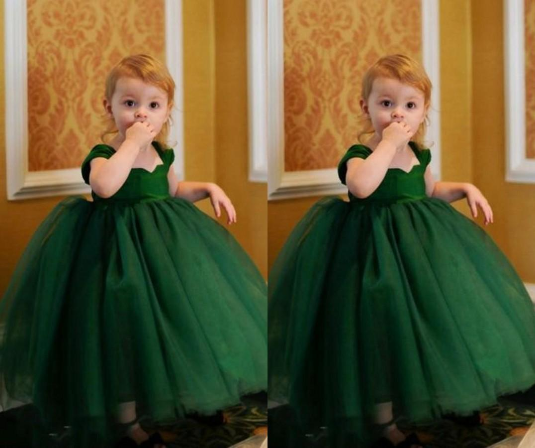 Hunter Green Little Girls Dresses Ball Gown Square Neck Cap Sleeve ...
