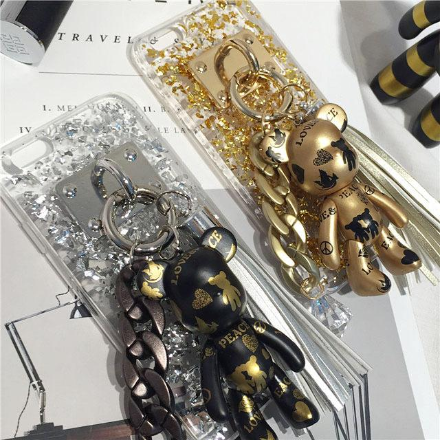 Black Golden Popobe Gloomy Violence Bear Phone Case Luxury Glitter TPU ...
