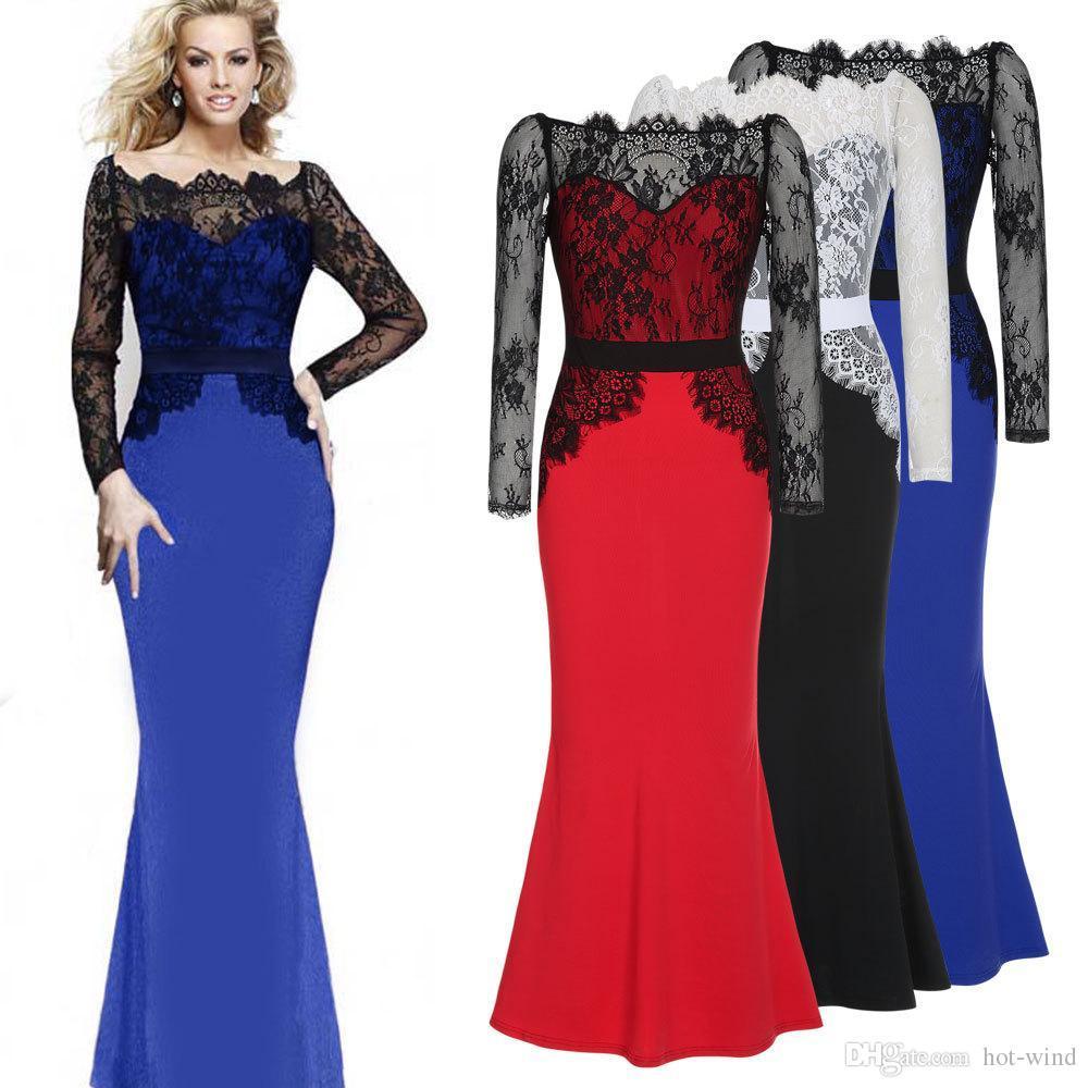 2016 Formal Long Sleeves Lace Mermaid Evening Gowns Sheer Bateau ...