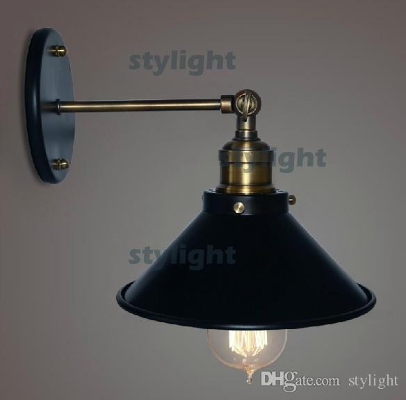 black unbrella wall lamp loft wall light american country style wall sconce rh metal wall lights bedroom dinning room warehouse garage - Loftwall