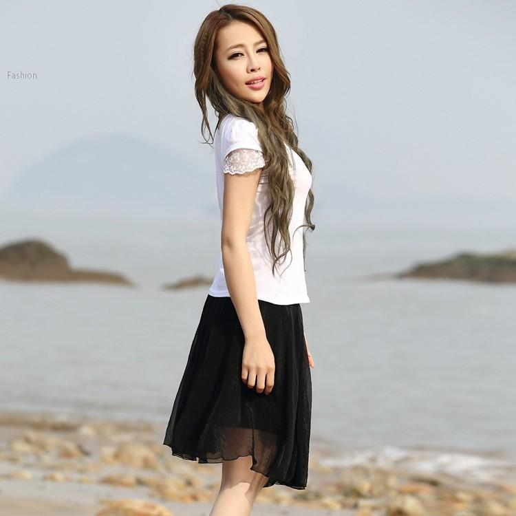 2017 Women Soft Chiffon Short Skirt Fashion Hight Elastic Waist ...