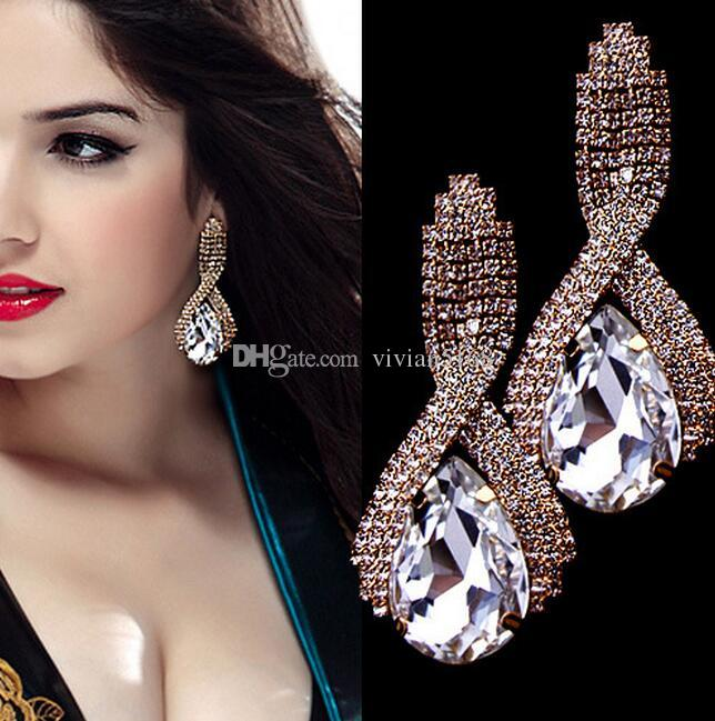 fashion gold wedding earrings water drop big earrings