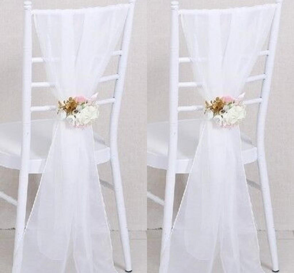 White chair covers with white sash - 2017 Cheap Sample Wedding Chair Sashes White Wedding Chair Ribbon Gauze Back Sash Back Of The Chair Decoration Covers Party Wedding Suppies Wedding Chair