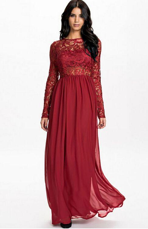 Hot Vestidos Bohemian Dress Sexy Elegant Red Wine Lace Dress Top ...