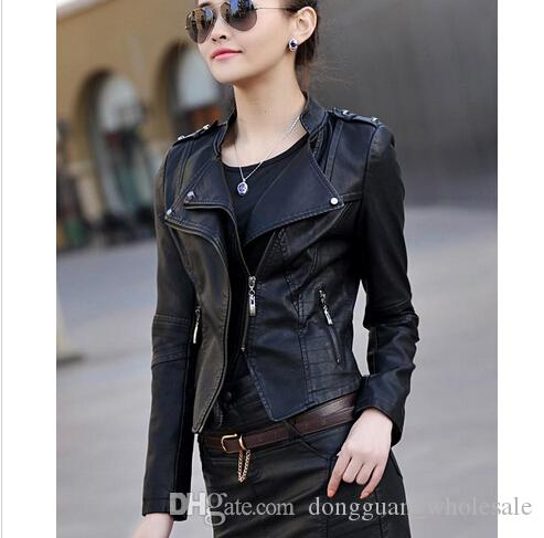 2016 Spring Autumn Leather Jacket Coat Women New Rivet Black Short Slim Girl Leather Ladies Outerwear Blue Female Coats Jackets Online with $43.36/Piece on