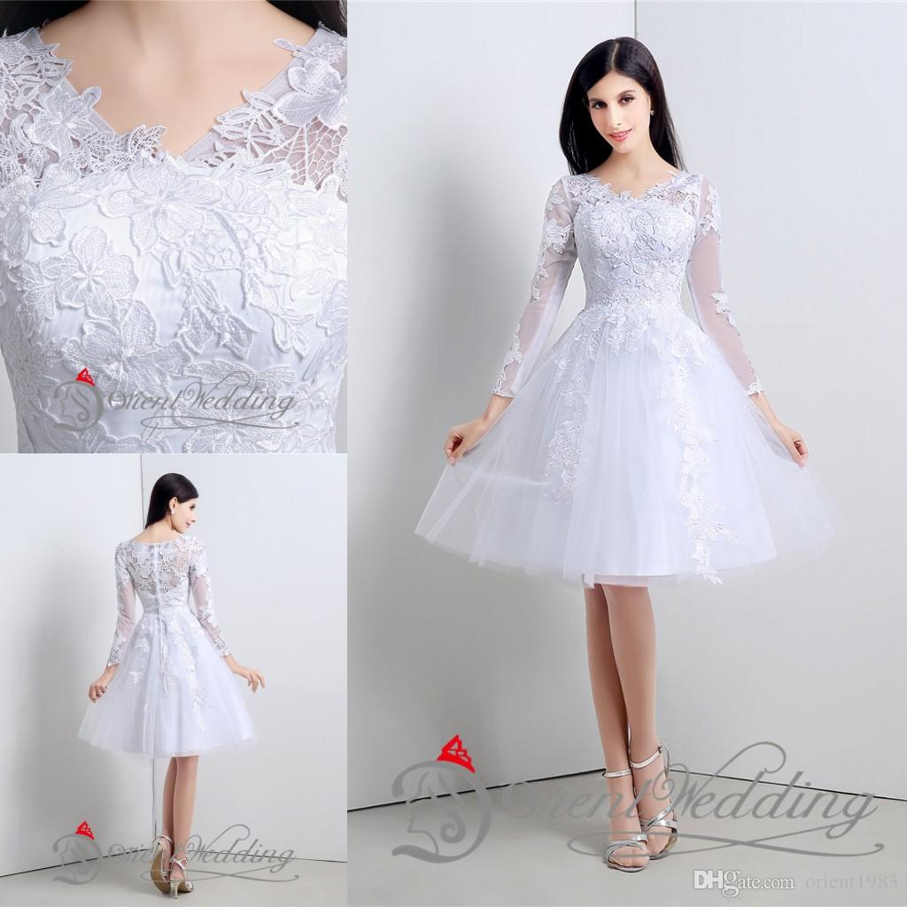 Discount 2015 Little Simple White Wedding Dresses With Appliques ...