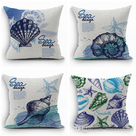 Home Decor Cushions handmade decorative sunflower set of pillows and cushions Blue Nautical Home Decor Starfish Cushion Cover Sea Design Throw Pillow Case Shell Pillowcase Funda Cojin