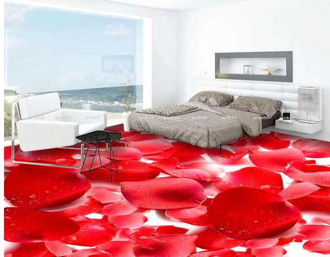 Custom photo floor wallpaper 3d stereoscopic rose petals for Boden 3d bilder
