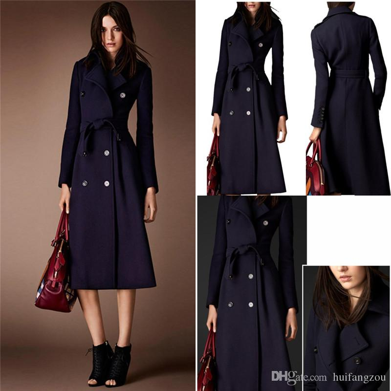 2017 Cheap Wool Coats For Women Dark Navy Long Belted Fashion ...