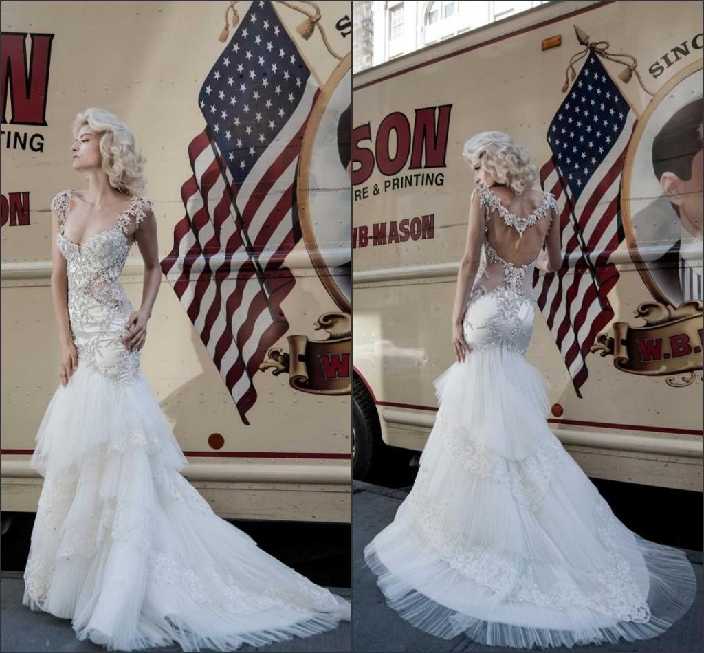 2016 New Pnina Tornai Couture Mermaid Lace Wedding Dresses