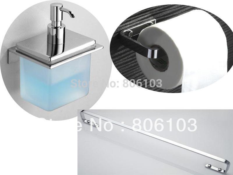 Bathroom accessories chrome plated brass bathroom set single towel bar toilet paper holder soap for Chrome plated brass bathroom accessories