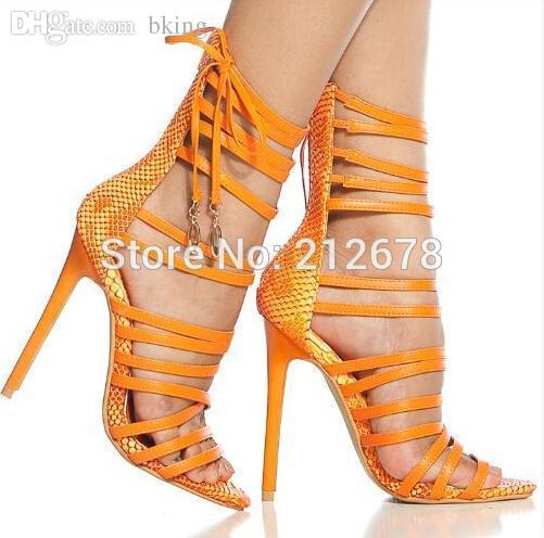Wholesale Elegent Strappy Lace Up Sandals Orange/Beige/Black ...