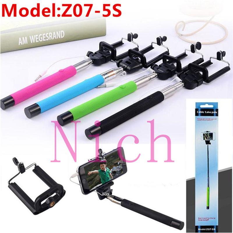 2017 z07 5s cable take pole selfie stick for iphone camera samsung selfie holder monopod z07 5s. Black Bedroom Furniture Sets. Home Design Ideas