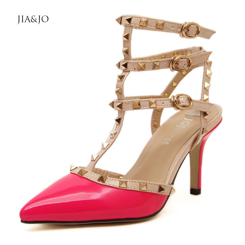 Size 35 40 Women Shoes Pointed Toe 8cm Heels Rivet Ankle Strap ...